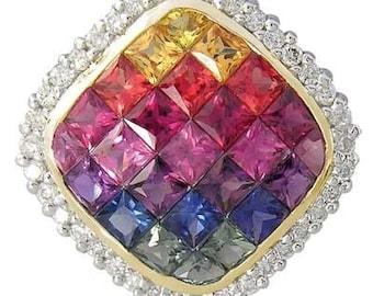 Multicolor Rainbow Sapphire & Diamond Invisible Square Pendant 14K Yellow Gold (2.92ct tw)  : sku 429-14k-yg
