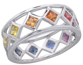 Multicolor Rainbow Sapphire Bezel Set Eternity Ring 925 Sterling Silver : sku 973-925
