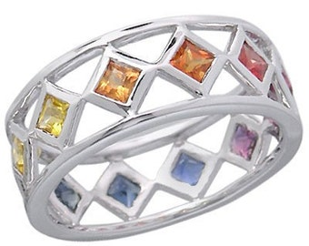 Multicolor Rainbow Sapphire Bezel Set Eternity Ring 14K White Gold (1.6ct tw) SKU: 973-14K-Wg