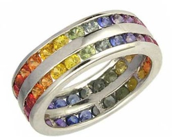 Multicolor Rainbow Sapphire Double Row Eternity Ring 925 Sterling Silver (11ct tw) : sku 459-925