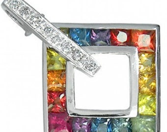 Multicolor Rainbow Sapphire & Diamond Large Square Pendant 18K White Gold (1.37ct tw) SKU: 431-18K-Wg