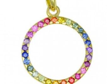 Multicolor Rainbow Sapphire Circle Pendant 18K Yellow Gold : sku 335-18K-YG
