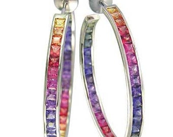 Multicolor Rainbow Sapphire Earrings Channel Set Hoop Huggie 18K White Gold (8.8ct tw) SKU: 1545-18K-Wg