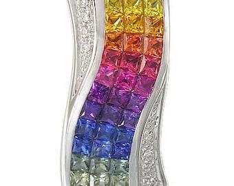 Multicolor Rainbow Sapphire & Diamond Pendant Invisible Set Triple Row 14K White Gold (3.06ct tw)  : sku 427-14k-wg
