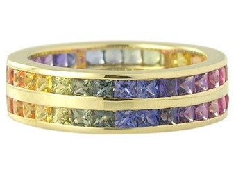 Multicolor Rainbow Sapphire Double Row Eternity Ring 14K Yellow Gold : sku 391-14k-yg