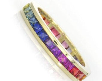 Multicolor Rainbow Sapphire Eternity Band Ring 18k Yellow Gold (3ct tw) : SKU R2045-18K-Yg
