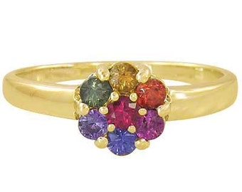 Multicolor Rainbow Sapphire Flower Cluster Ring 14K Yellow Gold (1ct tw): sku 1582-14k-yg