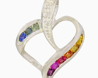 Multicolor Rainbow Sapphire & Diamond Heart Shape Pendant 925 Sterling Silver  : sku 1455-925