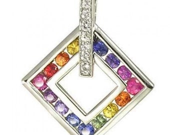 Multicolor Rainbow Sapphire & Diamond Large Square Pendant 925 Sterling Silver (1.37ct tw) SKU: 431-925