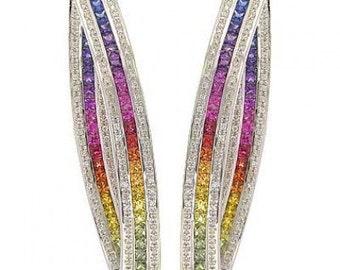 Multicolor Rainbow Sapphire & Diamond Inside Out Hoop Earrings 18K White Gold (7.8ct tw) SKU: 1608-18K-Wg