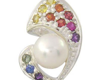 Multicolor Rainbow Sapphire & Pearl Majestic Queens Pendant 925 Sterling Silver (1/2ct tw) : sku 1468 - 925