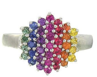 Multicolor Rainbow Sapphire Engagement Wedding Ring 14K White Gold  : sku 1584-14K-WG