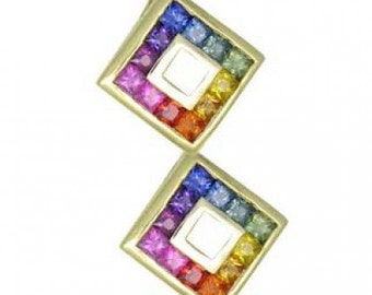 Multicolor Rainbow Sapphire Double Small Square Pendant 18K Yellow Gold (1.5ct tw) SKU: 525-18K-Yg