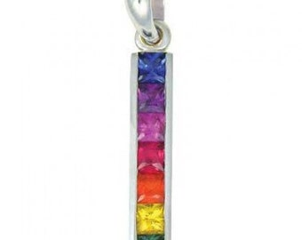 Multicolor Rainbow Sapphire Long Bar Pendant 925 Sterling Silver (1.3ct tw) SKU: 540-925