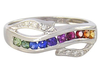 Multicolor Rainbow Sapphire & Diamond Classic Twist Ring 925 Sterling Silver : sku 1456-925
