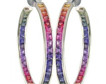 Multicolor Rainbow Sapphire Earrings Channel Set Hoop Huggie 925 Sterling Silver (8.8ct tw) SKU: 1545-925