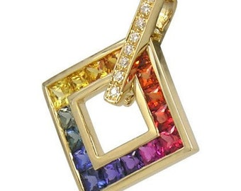 Multicolor Rainbow Sapphire & Diamond Large Square Pendant 18K Yellow Gold (1.37ct tw) SKU: 431-18K-Yg