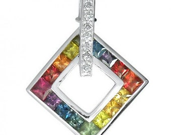 Multicolor Rainbow Sapphire & Diamond Large Square Pendant 14K White Gold (1.37ct tw) SKU: 431-14K-Wg
