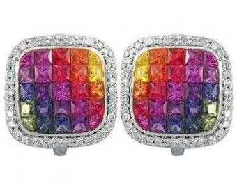 Multicolor Rainbow Sapphire & Diamond Invisible Set Earrings 14K White Gold (4.5ct tw) SKU: 430-14K-Wg