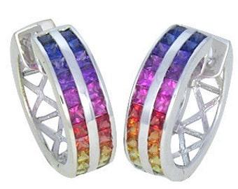 Multicolor Rainbow Sapphire Earrings Double Row Huggie 18K White Gold (5ct tw) : sku 437-18k-wg