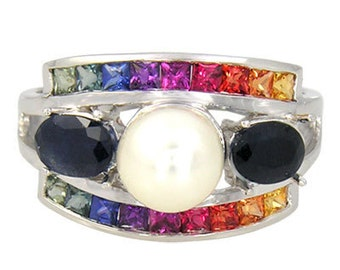 Multicolor Rainbow Sapphire & Pearl with Blue Sapphire Cluster Ring 925 Sterling Silver (3ct tw) SKU: 1429-925