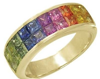 Multicolor Rainbow Sapphire Ring Invisible Set 18K Yellow Gold (3.4ct tw): sku 1125-18k-yg