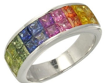 Multicolor Rainbow Sapphire Ring Invisible Set 18K White Gold (3.4ct tw) : sku 1125-18k-wg