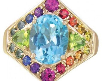 Multicolor Rainbow Sapphire, Blue Topaz and Peridot Fashion Ring 14K Yellow Gold (4.4ct tw) SKU: 1569-14K-Yg