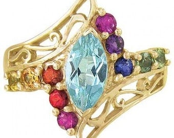 Multicolor Rainbow Sapphire and Marquise Topaz Womens Ring 14K Yellow Gold(1.97ct tw) SKU: 1576-14K-Yg
