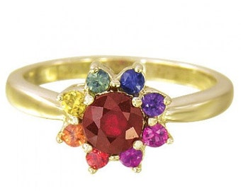 Multicolor Rainbow Sapphire & Ruby Cluster Ring 14K Yellow Gold (1.23ct tw) SKU: 1549-14K-Yg