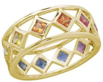 Multicolor Rainbow Sapphire Bezel Set Eternity Ring 14K Yellow Gold : sku 973-yellow-14K