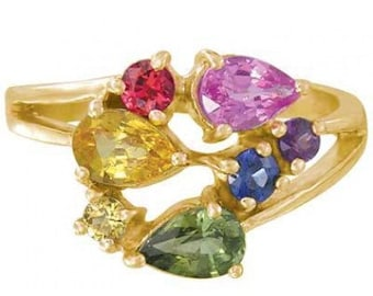 Multicolor Rainbow Sapphire Fireworks Ring 14K Yellow Gold (1.5ct tw) SKU: 1601-14K-Yg