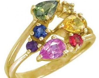 Multicolor Rainbow Sapphire Fireworks Ring 18K Yellow Gold (1.5ct tw) SKU: 1601-18K-Yg