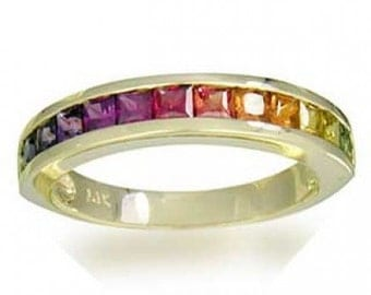 Multicolor Rainbow Sapphire Half Eternity Band Ring 14K Yellow Gold (2ct tw) SKU: 663-14K-Yg