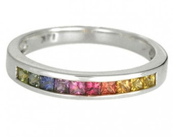 Multicolor Rainbow Sapphire Half Eternity Band Ring 14K White Gold (3/4ct tw) SKU: 891-14K-Wg