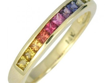Multicolor Rainbow Sapphire Half Eternity Band Ring 18K Yellow Gold (3/4ct tw) SKU: 891-18K-Yg