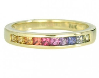 Multicolor Rainbow Sapphire Half Eternity Band Ring 14K Yellow Gold (3/4ct tw) SKU: 891-14K-Yg
