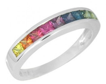 Rainbow Sapphire Half Eternity Band Ring 18K White Gold (1ct tw) SKU: 892-18K-Wg