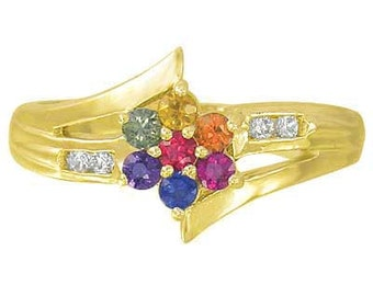 Multicolor Rainbow Sapphire & Diamond Fashion Ring 14K YellowGold : sku 1599-14K-YG