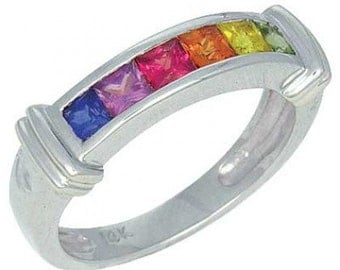 Multicolor Rainbow Sapphire Band Ring 18K White Gold (1ct tw) SKU: 312-18K-Wg