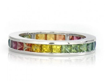 Multicolor Rainbow Sapphire Eternity Band Ring 14k White Gold (5ct tw) : sku 895-14k-wg