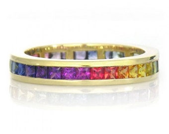 Multicolor Rainbow Sapphire Eternity Band Ring 14k Yellow Gold (4ct tw) : sku R2045-14k-yg