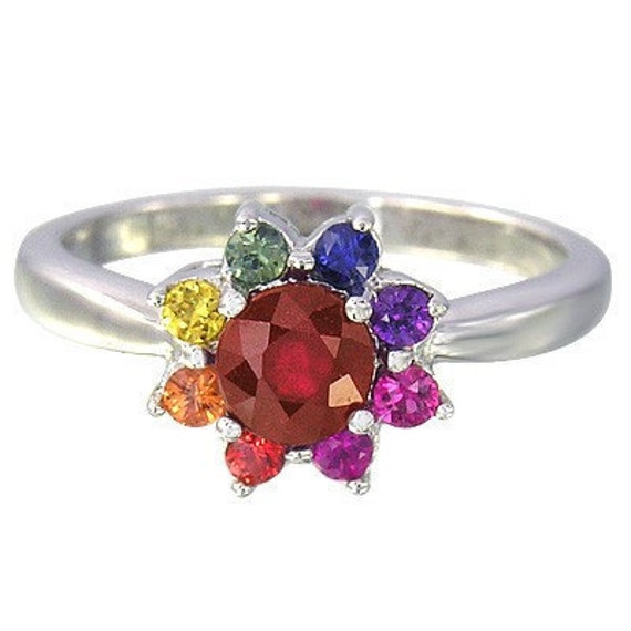 Multicolor Rainbow Sapphire & Ruby Cluster Ring 925 Sterling Silver  : sku 1549-925
