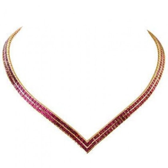 Multicolor Rainbow Sapphire Double Row Tennis Necklace 18K Yellow Gold (30ct tw) SKU: 1540-18K-Yg