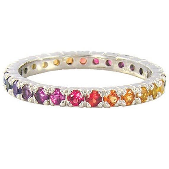 Multicolor Rainbow Sapphire Pave Set Ring 18K White Gold : sku 1512-white-18k