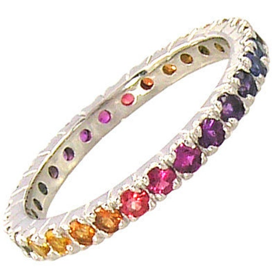 Multicolor Rainbow Sapphire Pave Set Eternity Ring 14K White Gold : sku 1512-14k-wg