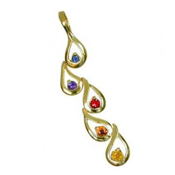 Multicolor Rainbow Sapphire Journey Pendant 18K Yellow Gold (1/2ct tw) SKU: 392-18K-Yg