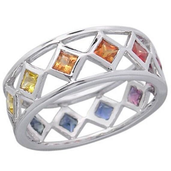 Multicolor Rainbow Sapphire Bezel Set Eternity Ring 925 Sterling Silver : sku 973-925