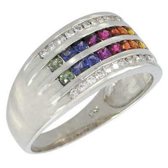 Multicolor Rainbow Sapphire & Diamond Multi Shape Band Ring 18K White Gold (1.35ct tw): sku 1523-white-18K