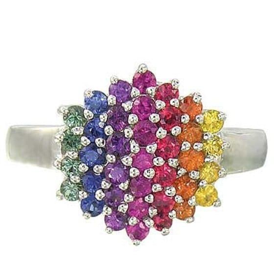 Multicolor Rainbow Sapphire Engagement Wedding Ring 925